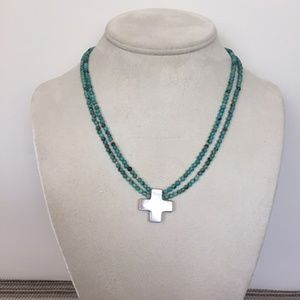 Silver Turquoise Necklace- silver cross